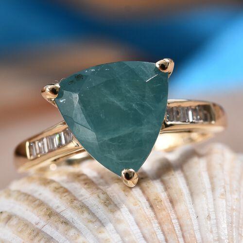 9K Yellow Gold AA Grandidierite (Trl 10 mm), Diamond Ring 3.85 Ct.