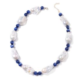 9K Yellow Gold AAA Baroque Freshwater Pearl and Himalayan Kyanite Necklace (Size 18 with 2 inch Exte