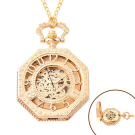 GENOA Automatic Mechanical Octagonal Hollow-Out Number Pattern Skeleton Pocket Watch with Chain in G
