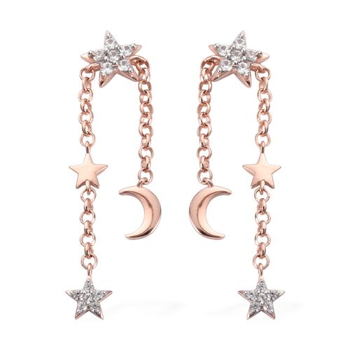 Natural Cambodian Zircon Moon Star Dangle Earrings (with Push Back) in Rose Gold Overlay Sterling Si