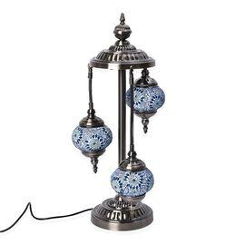 Handmade 3 Ball Turkish Mosaic Crystal Studded Table Lamp (Size 21x68 Cm) - Blue