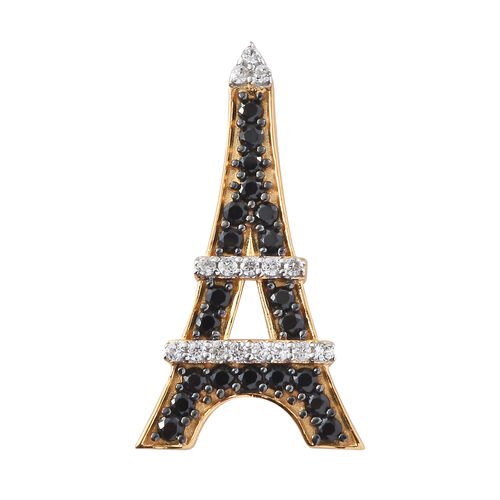 Boi Ploi Black Spinel (Rnd), Natural Cambodian Zircon Eiffel Tower Pendant in 14K Gold and Platinum