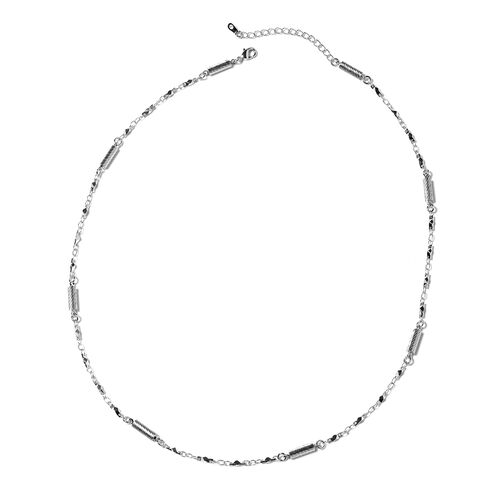 Laser Cut Texture Chain Necklace in Silver Tone 20 with 2 inch Extender