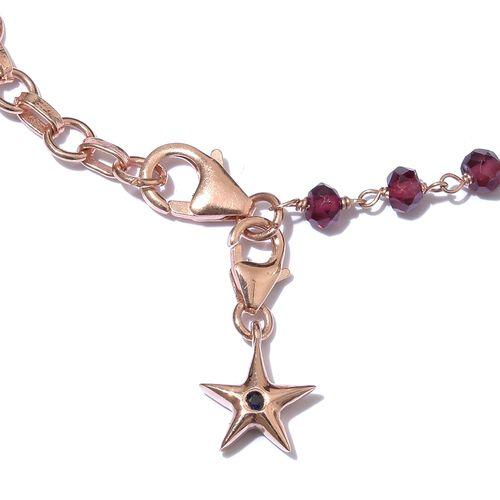 GP Rhodolite Garnet (Rnd), Kanchanaburi Blue Sapphire Bracelet (Size 7 with 1 inch Extender) with Star Charm in Rose Gold Overlay Sterling Silver 10.570  Ct.