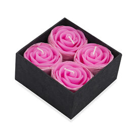 Set of 4 - Pink Rose Candle in Gift Box (Size 4.5x3 Cm)