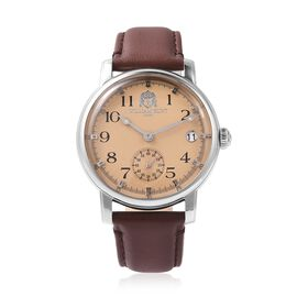 WILLIAM HUNT Japanese Movement Water Resistance Watch in Stainless Steel with Chocolate Leather Stra