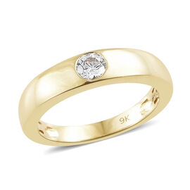 J Francis - 9K Yellow Gold (Rnd) Ring Made With SWAROVSKI ZIRCONIA Gold wt 3.72 Gms.