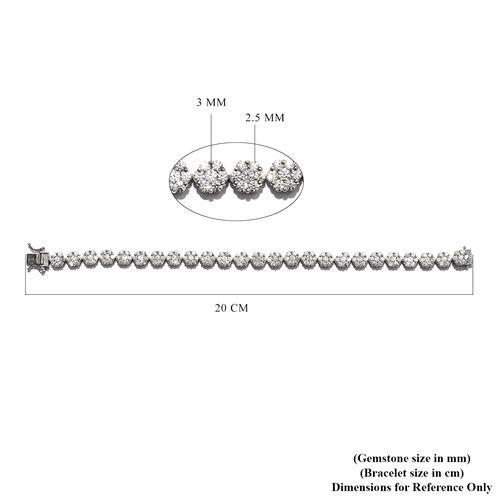 J Francis Platinum Overlay Sterling Silver Bracelet (Size 8) Made with SWAROVSKI ZIRCONIA 22.24 Ct, Silver wt 17.60 Gms