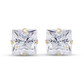 One Time Close Out Deal- 9K Yellow Gold Swarovski Zirconia Stud Earrings (with Push Back)
