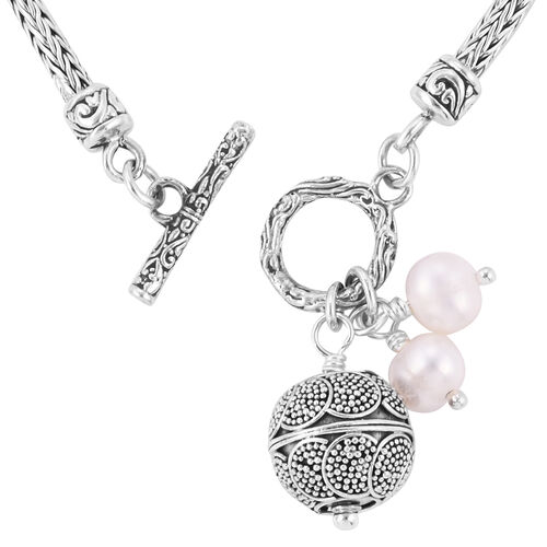 Royal Bali Collection- Fresh Water Pearl Bracelet (Size 8) with Charms in Sterling Silver, Silver wt 11.21 Gms.