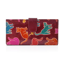 100% Genuine Leather Burgundy Colour Handpainted Cat Pattern Wallet with RFID Blocking (Size 22.75x11.5x3 Cm)
