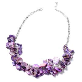 Boho Chic Inspired-Purple Shell BIB Necklace (Size 20) in Silver Plated.