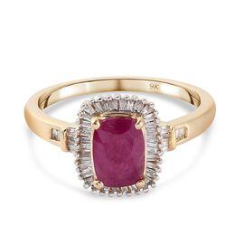 9K Yellow Gold Burmese Ruby and Diamond Ring 1.25 Ct.