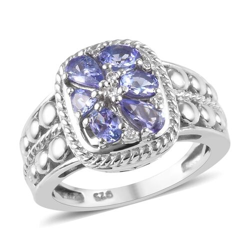 1.07 Ct Tanzanite and Natural Cambodian Zircon Ring in Platinum Plated Sterling Silver