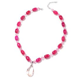 Simulated Pink Sapphire (Pear), Red Agate Beads Necklace (Size 25 and 2 inch Extender) in Silver Tone