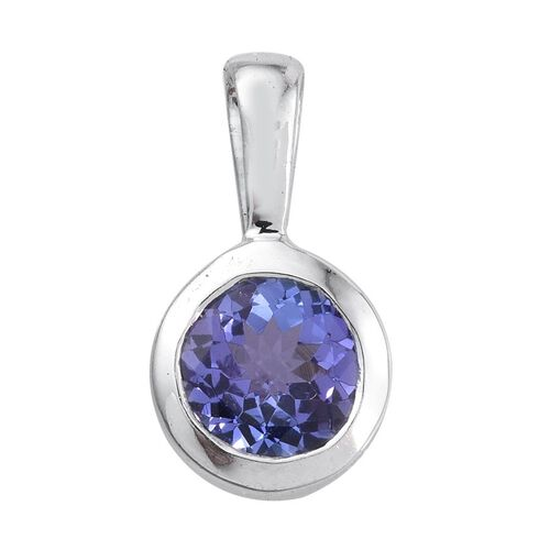 14K White Gold Tanzanite (Rnd) Solitaire Pendant 1.000 Ct.