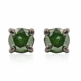9K White Gold Green Diamond (Rnd) Stud Earrings (with Push Back) 0.40 Ct.