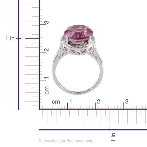 Kunzite Colour Quartz (Ovl 10.25 Ct), Diamond Ring in Platinum Overlay Sterling Silver 10.300 Ct.