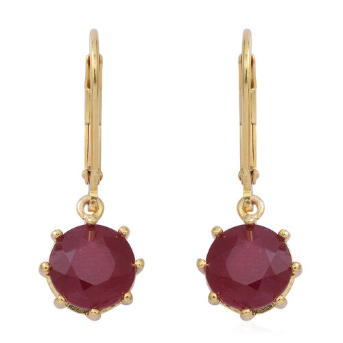 African Ruby (Rnd) Lever Back Earrings in Yellow Gold Overlay Sterling Silver 5.560 Ct.