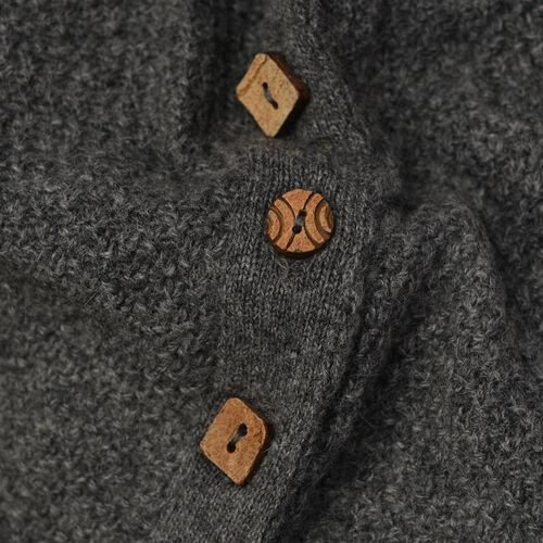 80% Wool Graphite Melange Colour Poncho (Size-24, 57x118cm)