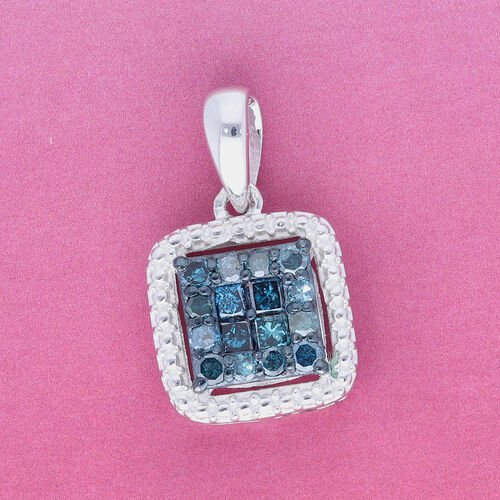 Blue Diamond Pendant in Platinum Overlay Sterling Silver 0.33 Ct.