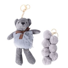 2 Piece Set - Golden Key Chain with Soft Teddy Bear and 7 Balls - Grey Colour
