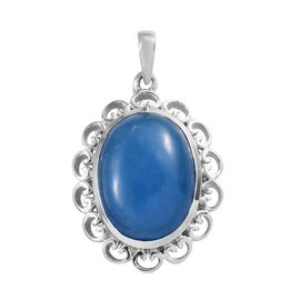 11 Ct Blue Jade Solitaire Pendant in Platinum Plated Sterling Silver