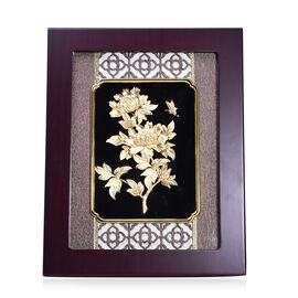 Home Decor - 24K Gold Plated Flower Wooden Frame (Size 27x34 Cm)