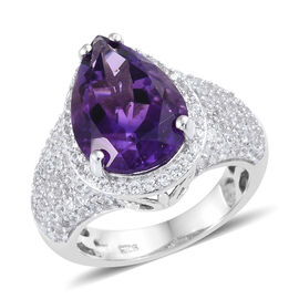 Moroccan Amethyst and Cambodian Zircon Halo Ring in Platinum Plated Sterling Silver 5.50 Grams