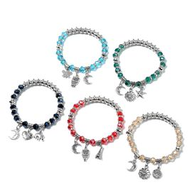 Set of 5 Multi Colour Glass Beads Stretchable Bracelet with Multi Charm in Silver Tone 7 Inch