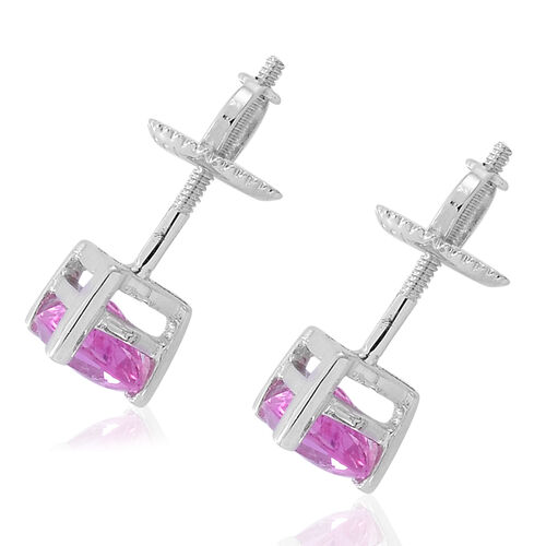 Limited Edition - ILIANA 18K White Gold AAA Hot Pink Sapphire (Trl) Stud Earrings (with Screw Back) 1.250 Ct.
