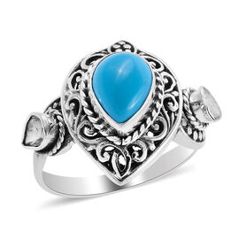 Royal Bali Collection Arizona Sleeping Beauty Turquoise and Polki Diamond Ring in Sterling Silver 1.
