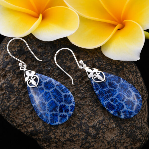 Royal Bali Collection Blue Sponge Coral Drop Solitaire Earrings in Sterling Silver