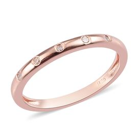 Diamond Band Ring in Rose Overlay Sterling Silver 0.05 Ct.