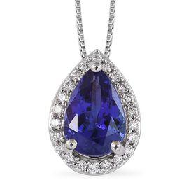 RHAPSODY 950 Platinum AAAA Tanzanite and Diamond (VS /E-F) Pendant with Chain (Size 18) 1.75 Ct.