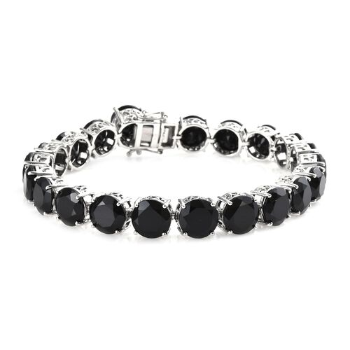 2 Piece Set - Natural Boi Ploi Black Spinel (Rnd 9 mm) Bracelet (Size 8) and Stud Earrings (with Push Back) in Platinum Overlay Sterling Silver 70.00 Ct, Silver wt 17.17 Gms