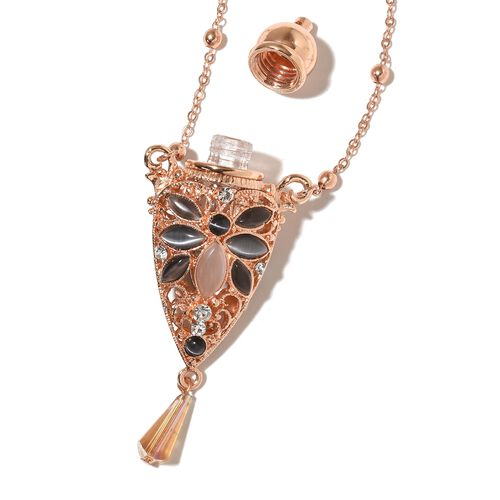 Simulated Multi Colour Cats Eye, Simulated Champagne Diamond and White Austrian Crystal Necklace (Size 27) in Rose Gold Tone