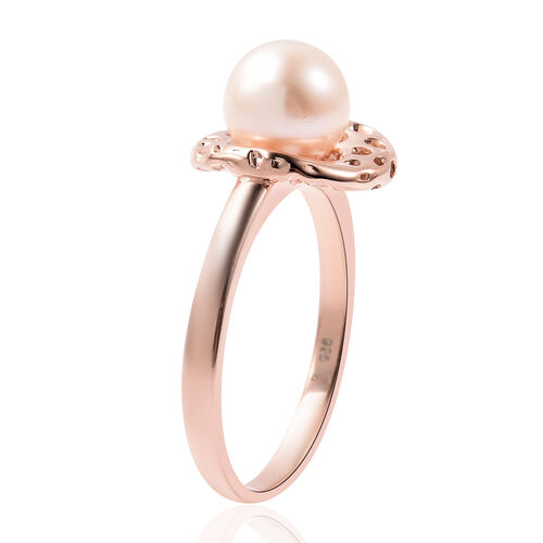 RACHEL GALLEY - Freshwater White Pearl Solitaire Ring in Rose Gold Overlay Sterling Silver