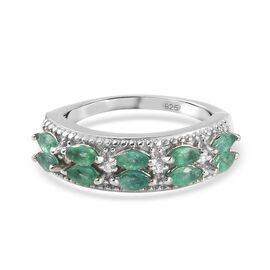 Emerald, Zircon Cluster Ring in Platinum Overlay Sterling Silver 0.65 ct  0.650  Ct.