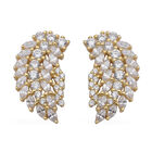 ELANZA Simulated Diamond Feather Design Earrings (with Push Back) in Yellow Gold Overlay Sterling Si