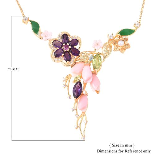 Jardin Collection - Pink Mother of Pearl, Amethyst and Multi Gemstone Enamelling Necklace (Size 18) in Yellow Gold Overlay Sterling Silver, Silver wt 11.60 Gms