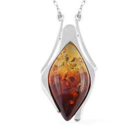 Bi-Colour Baltic Amber Marquise Half Bezel Necklace (Size 20) in Sterling Silver