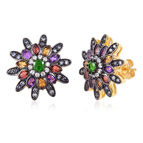 Russian Diopside (Rnd), Citrine, Mozambique Garnet, Amethyst and Natural White Cambodian Zircon Earrings (with Push Back) in Black and Gold Overlay Sterling Silver 3.480 Ct, Silver wt 6.250 Gms