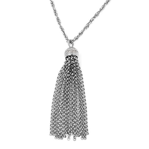White Austrian Crystal (Rnd) Tassel Necklace (Size 30) in Stainless Steel