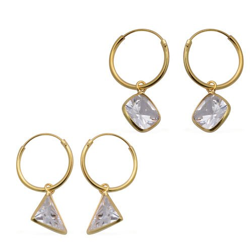 ELANZA - Set of 2 Simulated Diamond Hoop Earrings in Yellow Gold Overlay Sterling Silver