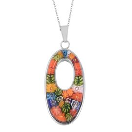 Multi Colour Murano Style Glass Floral Pendant With Chain (Size 20) in Stainless Steel