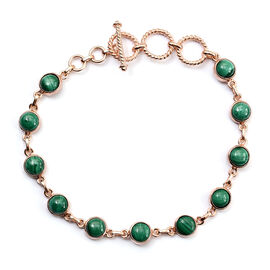 Designer Inspired- Malachite Adjustable Bracelet (Size 7.5) in Rose Gold Tone 13.750  Ct.