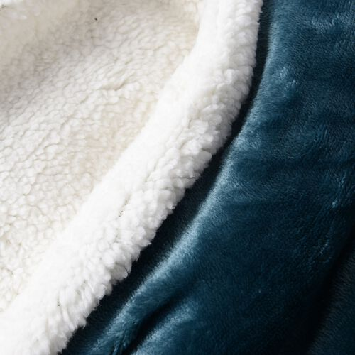 Turquoise Colour Supersoft Reversible Flannel Sherpa Blanket (150x200 cm)