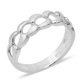 Designer Inspired Sterling Silver Curb Link Band Ring (Size N)