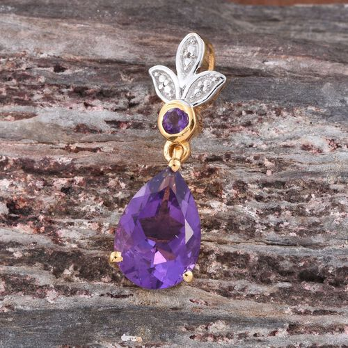 Amethyst (Pear) Pendant in 14K Gold Overlay Sterling Silver 2.750 Ct.